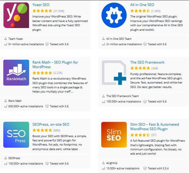 Resultados al buscar SEO en WordPress Plugins